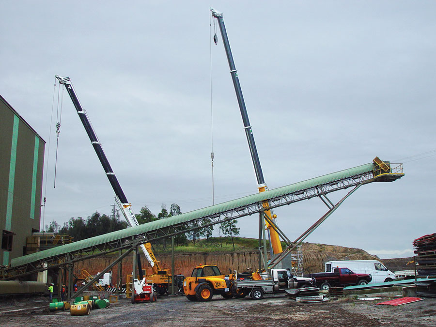 SITE PHOTO: Setting up conveyer that DMM Engineering removed from another site and relocated.