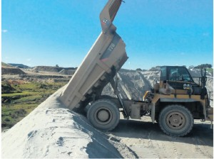 Dumping a load directly over the crest of the Dump Stockpile
