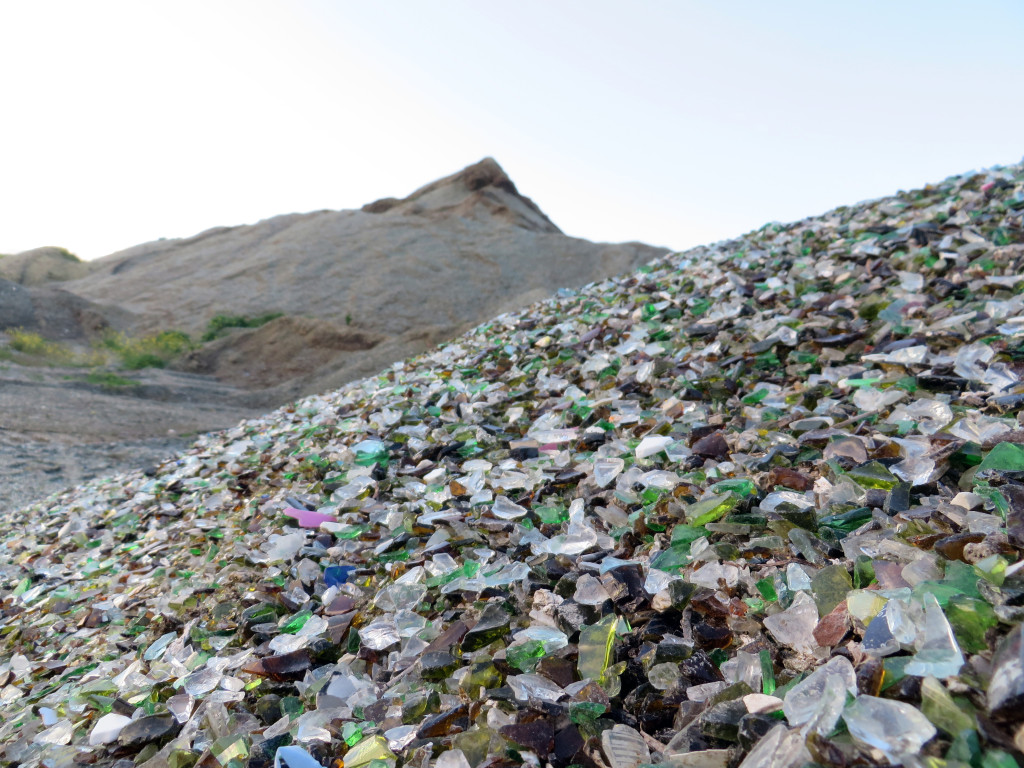 A stockpile of glass fines awaits recycling